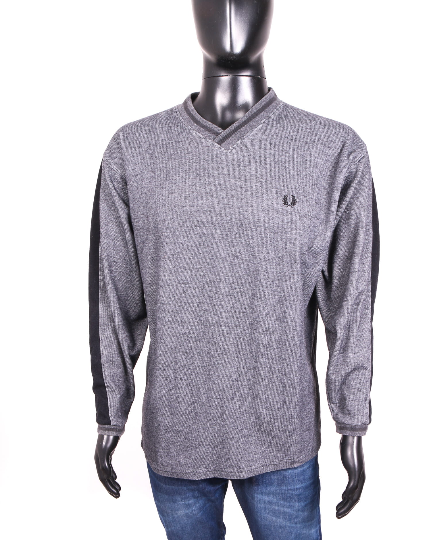 Fred Perry Needlepunch V-Neck Pullover Sweater Men/'s Sweatshirt Pacific Marl