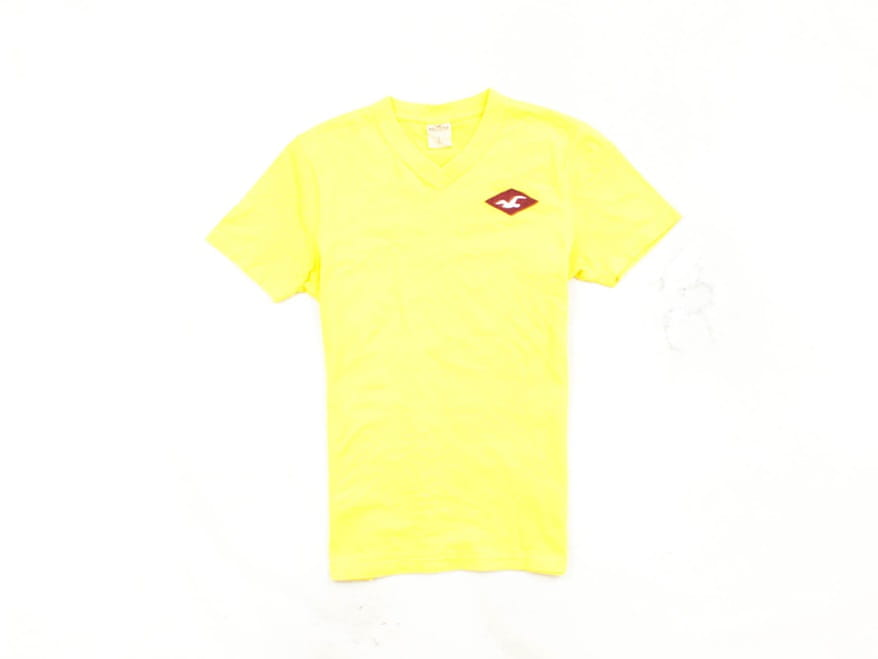 Details about M Hollister Mens T-Shirt V-Neck Yellow size S